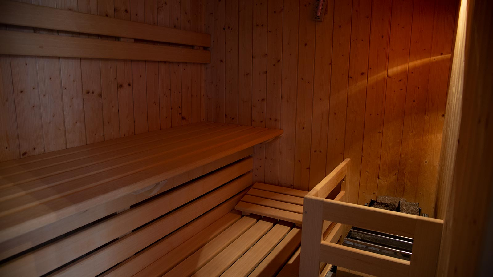 View of the inside of the sauna in the Pensione Wiesenrain